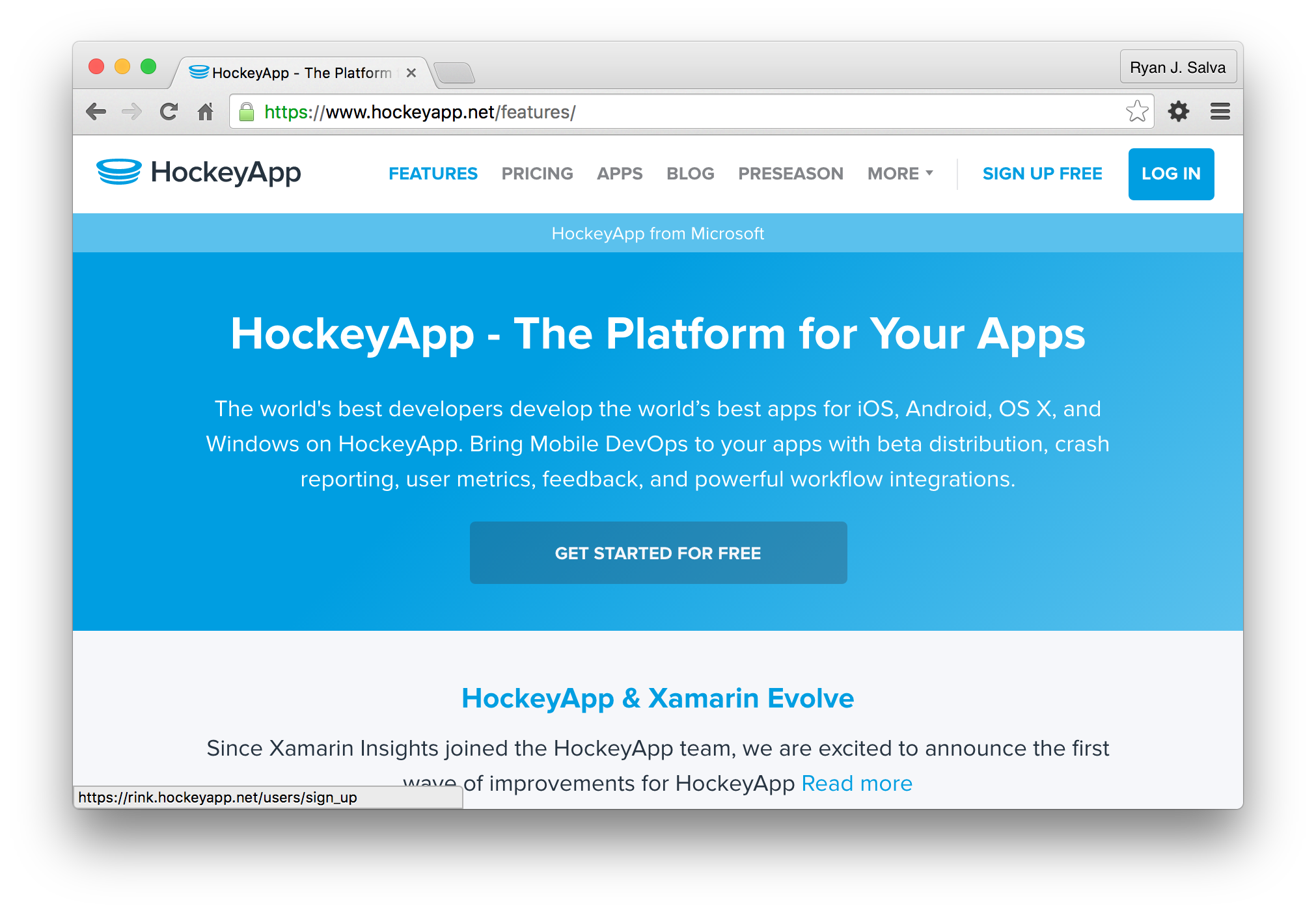 Signup for a HockeyApp account