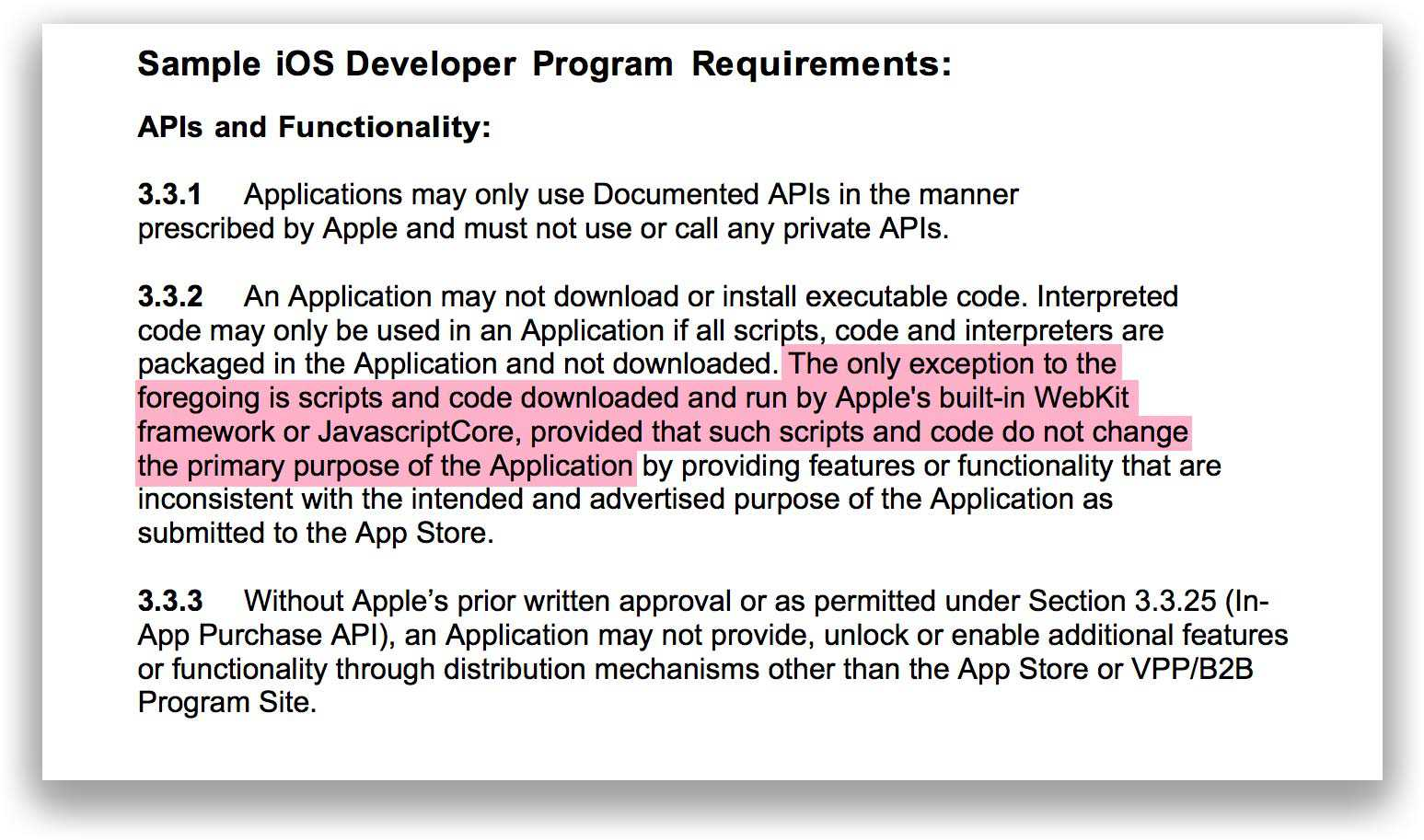 Sample Apple Developer Agreement