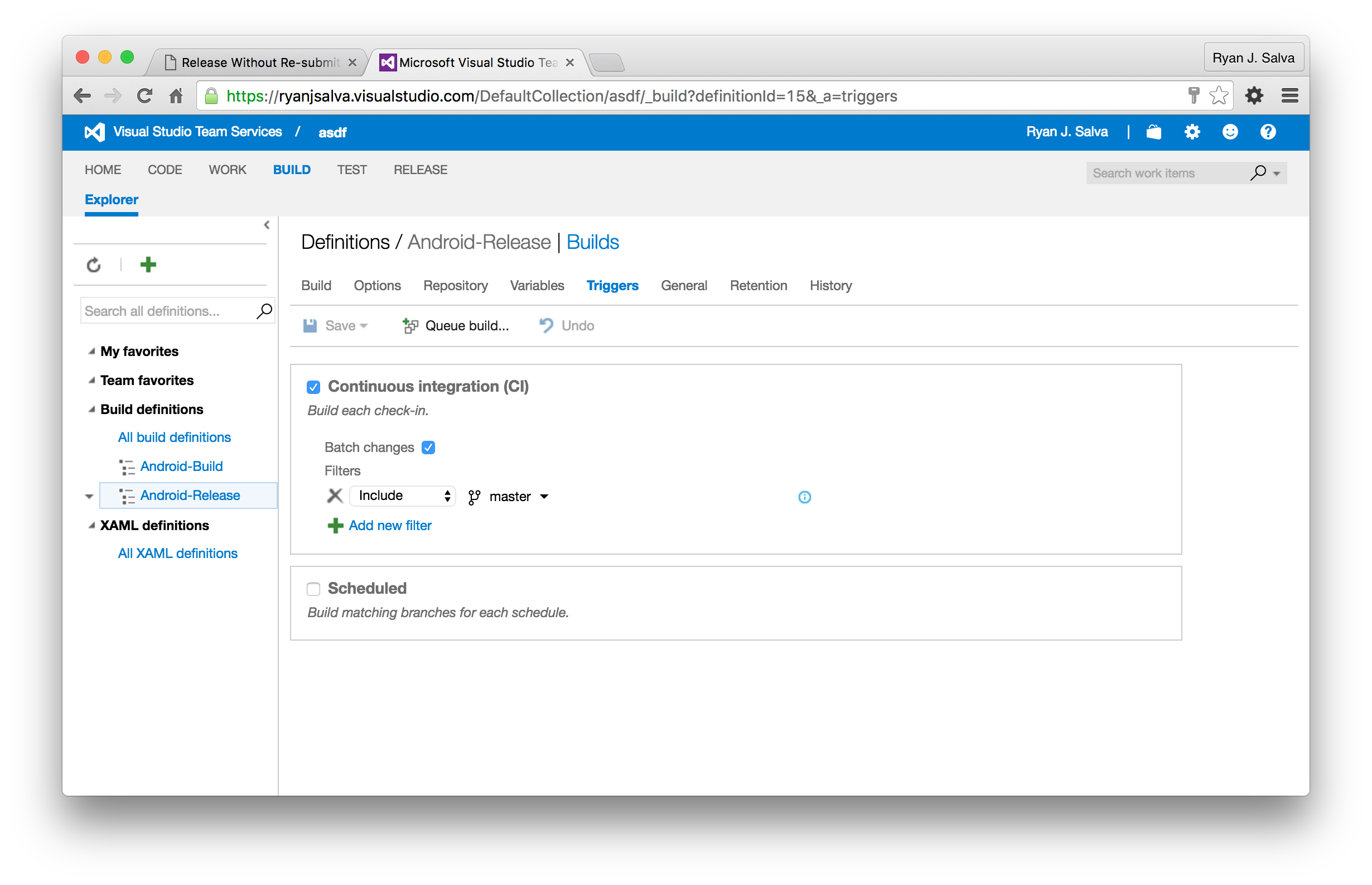 Triggers set to use Continuous Integration